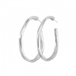 Boucles d'oreilles créoles OHmmm en métal & galbées design ovale