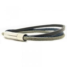 Bracelet jonc multi-rangs Mixte - Métal & cuir marron bleu