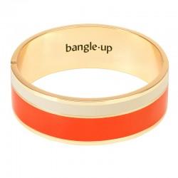 Bracelet jonc manchette Vaporetto doré d'émail blanc sable & tangerine