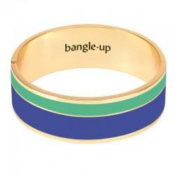 Bracelet jonc manchette Vaporetto doré d'émail bleu clematis & vert opal