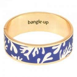 Bracelet jonc manchette BANGLE UP Neptune doré d'émail blanc sable & bleu clematis