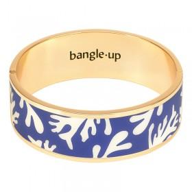 Bracelet jonc manchette Neptune doré d'émail blanc sable & bleu clematis