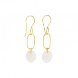Boucles d'oreilles pendantes AMULETTE dorées & Rainbow