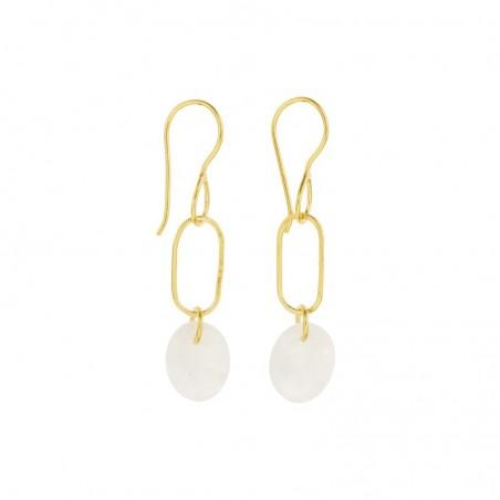 Boucles d'oreilles pendantes AMULETTE dorées & Pierre de Lune