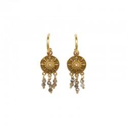 Boucles d'oreilles pendantes SOLEIL UNE A UNE dorées & pampilles pailletées