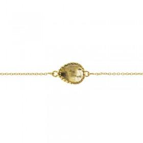 Bracelet chaîne dorée ajustable - Médaillon ovale & Labradorite