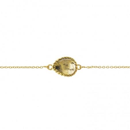 Bracelet chaîne dorée ajustable - Médaillon oval & Labradorite