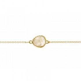 Bracelet chaîne dorée ajustable - Médaillon oval & Pierre de lune