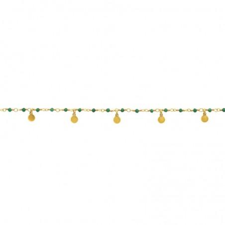 Bracelet chaîne dorée ajustable INDE - Petites médailles & Perles Emeraudes