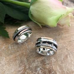 Ambiance - Bague anneau Argent, 2 ors & Zircons - LA BEAUTE