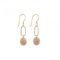 Boucles d'oreilles pendantes AMULETTE UNE A UNE  dorées & Opale