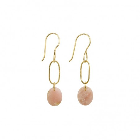 Boucles d'oreilles pendantes AMULETTE dorées & Opale