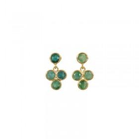 Boucles d'oreilles FLEUR dorées & Onyx verts