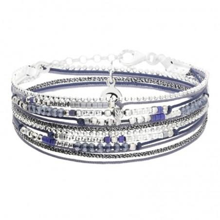 Bracelet multi-tours EGERIE argent - Cordons & perles bleu gris