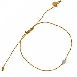 LuckyTeam - Bracelet cordon doré - Cordon tressé & Coeur en nacre