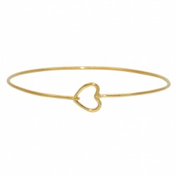 LuckyTeam - Bracelet Jonc fin Doré & Coeur