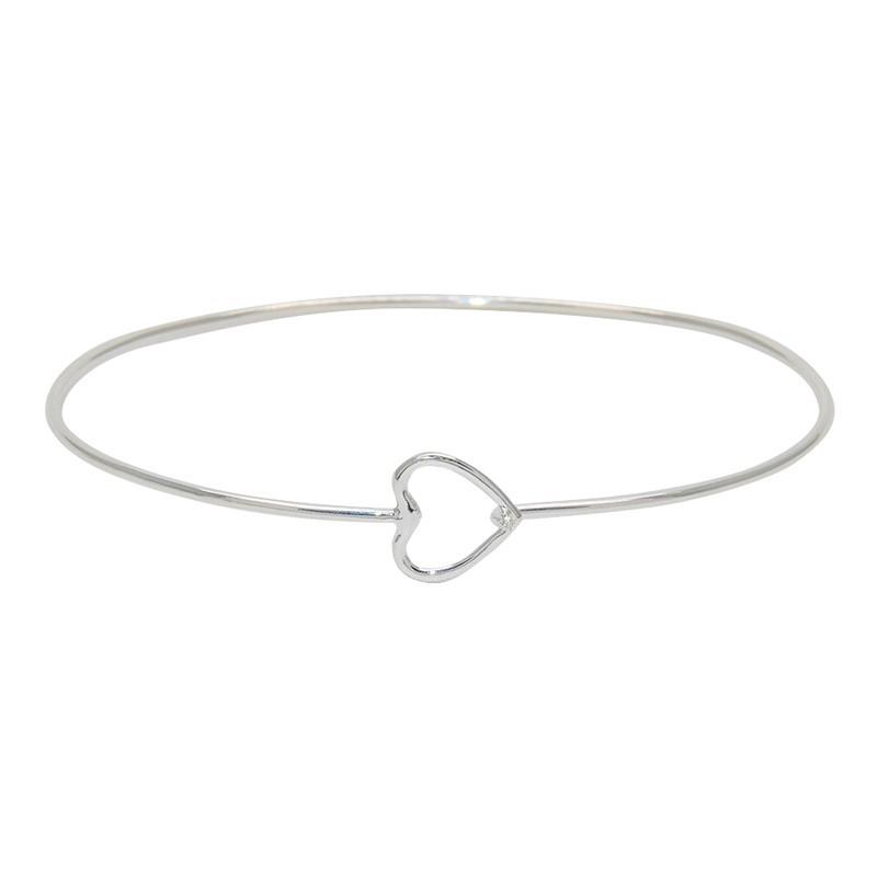 LuckyTeam - Bracelet Jonc fin Argent & Coeur