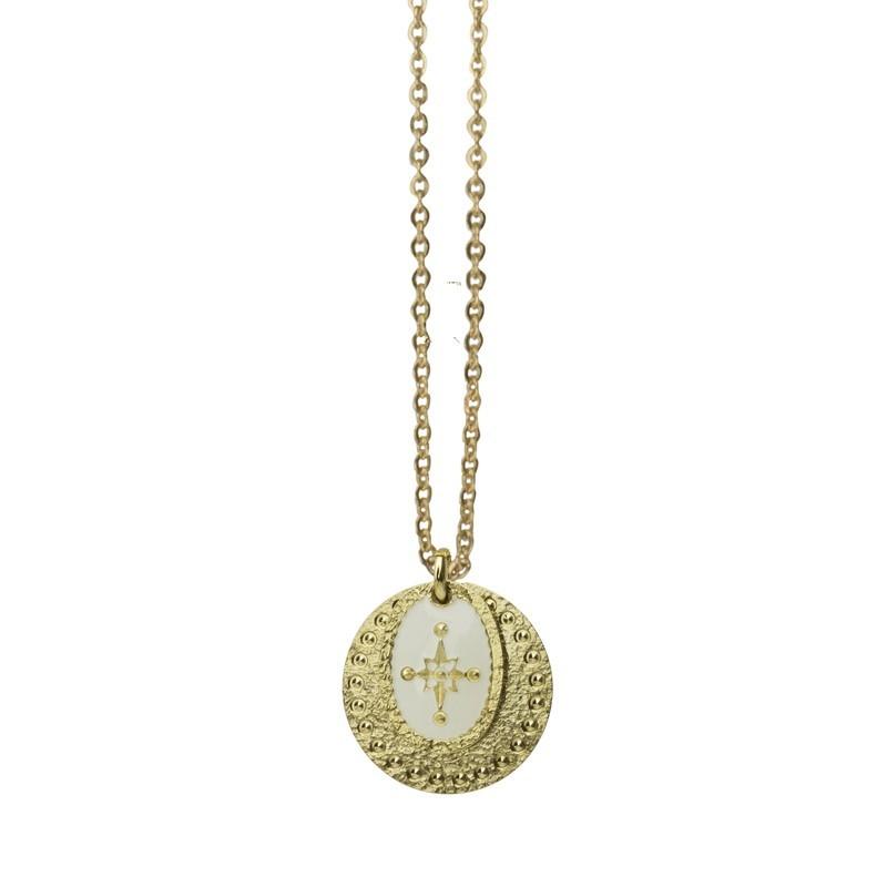 Collier Or L'Etincelle - Double médailles laquée blanc