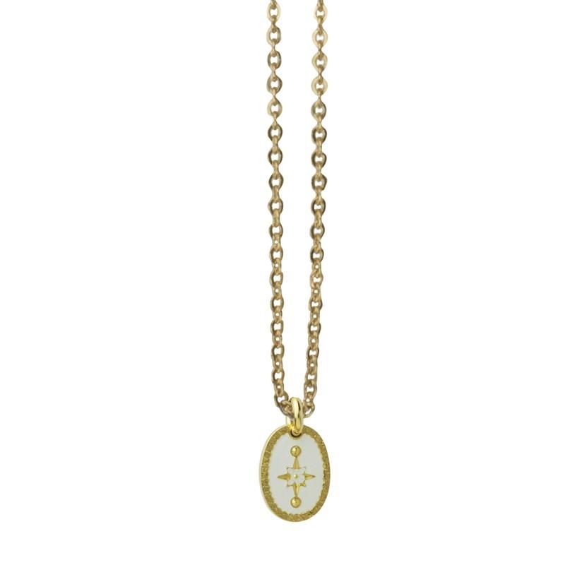 Collier choker Or L'Etincelle - Médaille laquée blanc