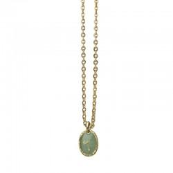 Collier choker Or La Galaxie - Médaille laquée turquoise