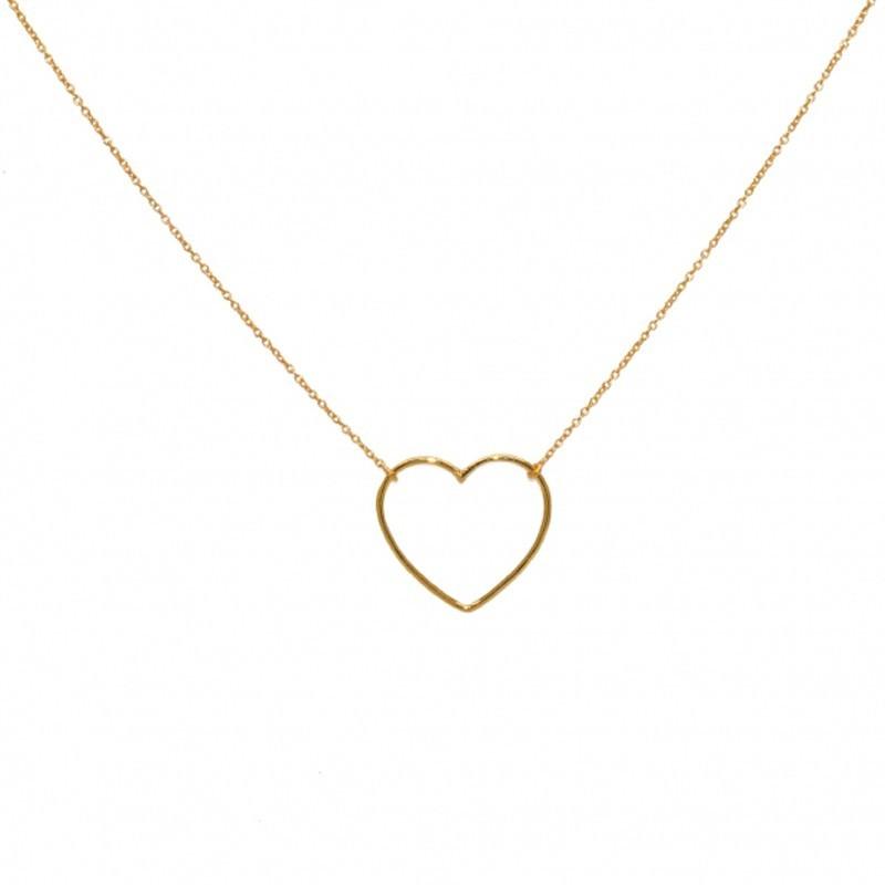 Collier chaîne dorée & Pendentif Coeur - 50 cm