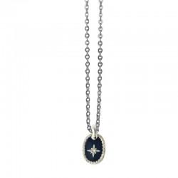 Lovely Day Bijoux - Collier choker Argent Rose des Vents - Médaille laquée bleue & Rose des Vents argentée