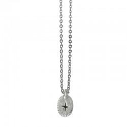 Lovely Day Bijoux - Collier choker Argent L'Eclat - Médaille ovale & Eclat laqué noir