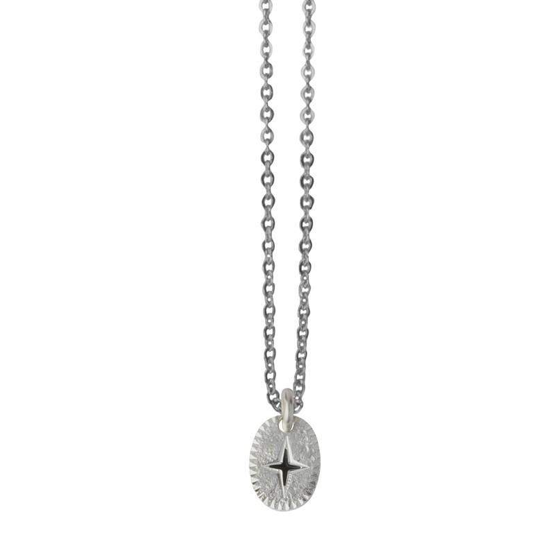 Collier choker Argent L'Eclat - Médaille ovale & Eclat laqué noir
