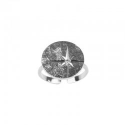 Bague sceau Argent L'Etoile - Bague ajustable & médaille étoile gravée