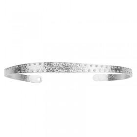 Bracelet Jonc Lune - Demi-Jonc fin argenté martelé pointillé
