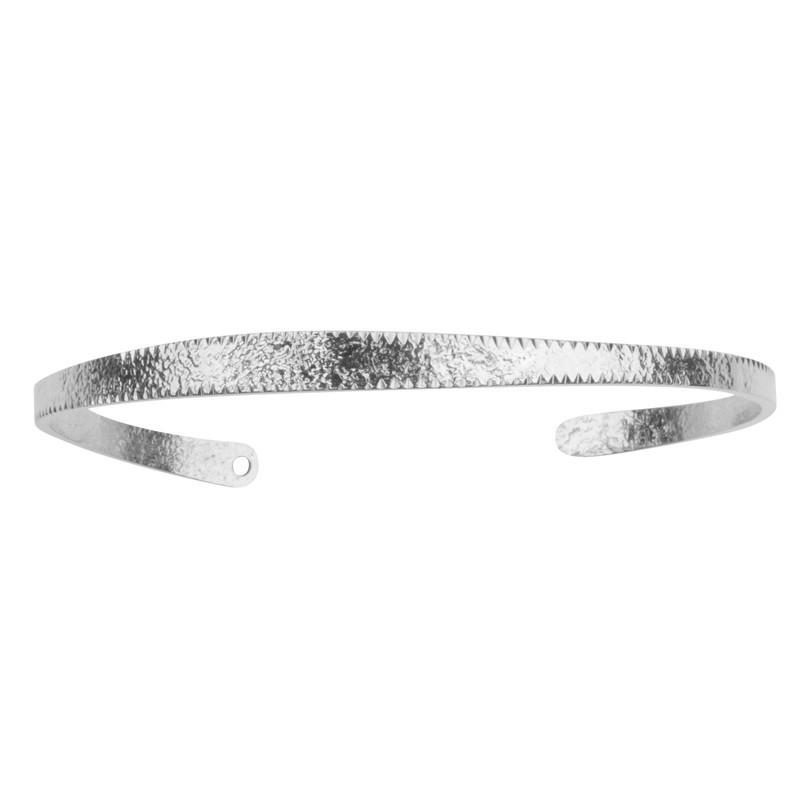 Bracelet Jonc Soleil - Demi-Jonc fin argenté martelé & ciselé