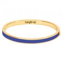 Bracelet jonc fin Bangle en laiton doré émaillé Bleu clématis