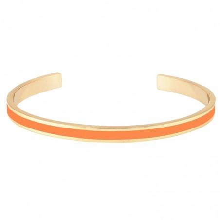 Bracelet jonc fin ouvert Bangle en laiton doré stylisé d'émail mandarine