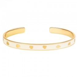 Bracelet jonc fin ouvert BANGLE UP  Jude - Laiton doré & Email blanc sable