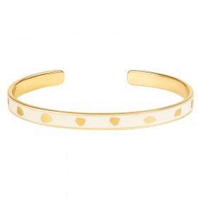 Bracelet jonc fin ouvert BANGLE UP  Jude - Laiton doré & Email blanc sable