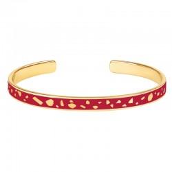 Bracelet jonc fin ouvert Bangle Lucy - Laiton doré & Email rouge velours