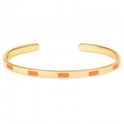 Bracelet jonc fin ouvert Bangle Tempo - Laiton doré & Email mandarine