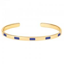 Bracelet jonc fin ouvert BANGLE UP Tempo - Laiton doré & Email bleu clématis