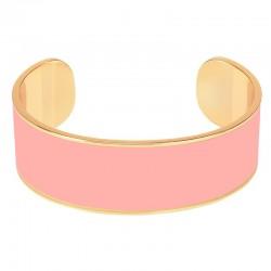 Bracelet jonc manchette BANGLE UP laiton doré d'émail rose poudre