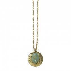 Lovely Day Bijoux - Collier Or La Galaxie - Double médailles laquée turquoise