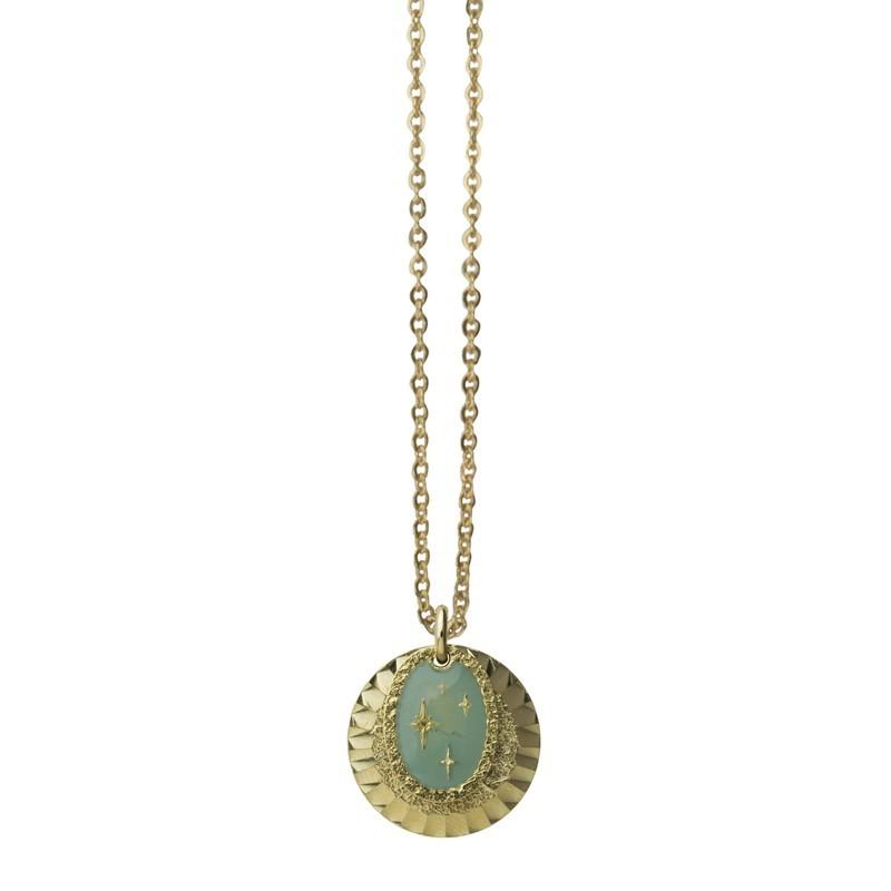Collier Or La Galaxie - Double médailles laquée turquoise