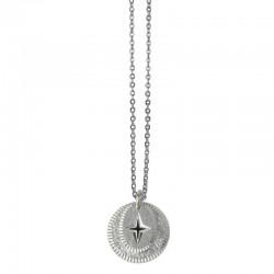 Lovely Day Bijoux - Collier Argent L'Eclat - Double médailles & Eclat laqué noir