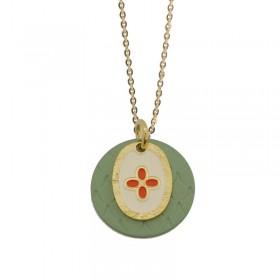 Collier Or Le Coeur Colors - Double médailles laquées vert & blanc rouge