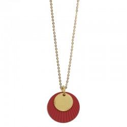 Collier Or Soleil Colors - Médailles rondes rouge & doré