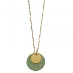 Collier Or Lune Colors - Médailles rondes vert & doré