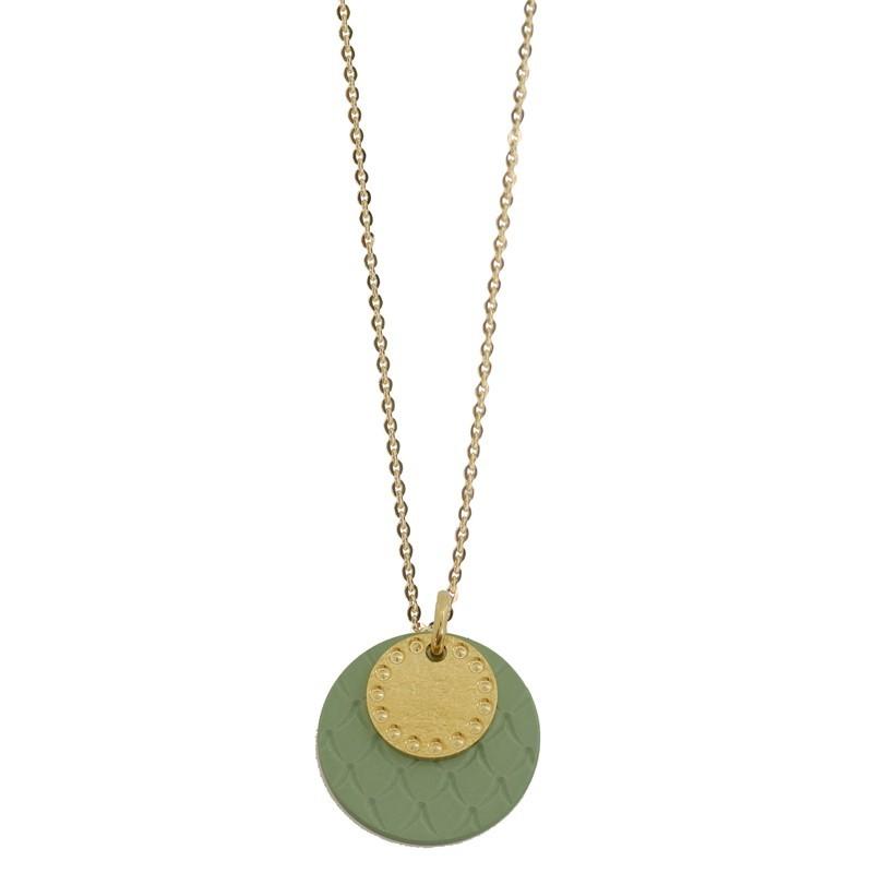 Lovely Day Bijoux - Collier Or Lune Colors - Médailles rondes vert & doré