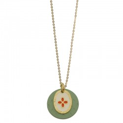 Lovely Day Bijoux - Collier Or Le Coeur Colors - Double médailles laquées vert & blanc rouge