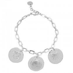 Bracelet Argent PALOMA - Bracelet chaîne & Médailles gravées coquilles