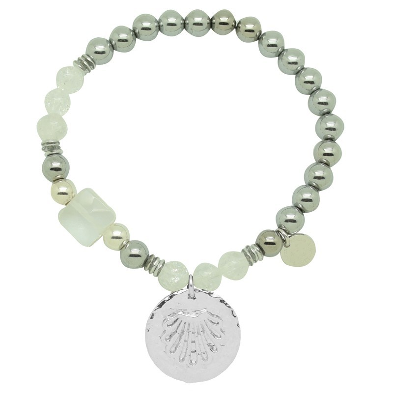 Bracelet élastiqué Argent PALOMA - Perles grises & Médaille coquille - Pluie d'Etoiles bijoux