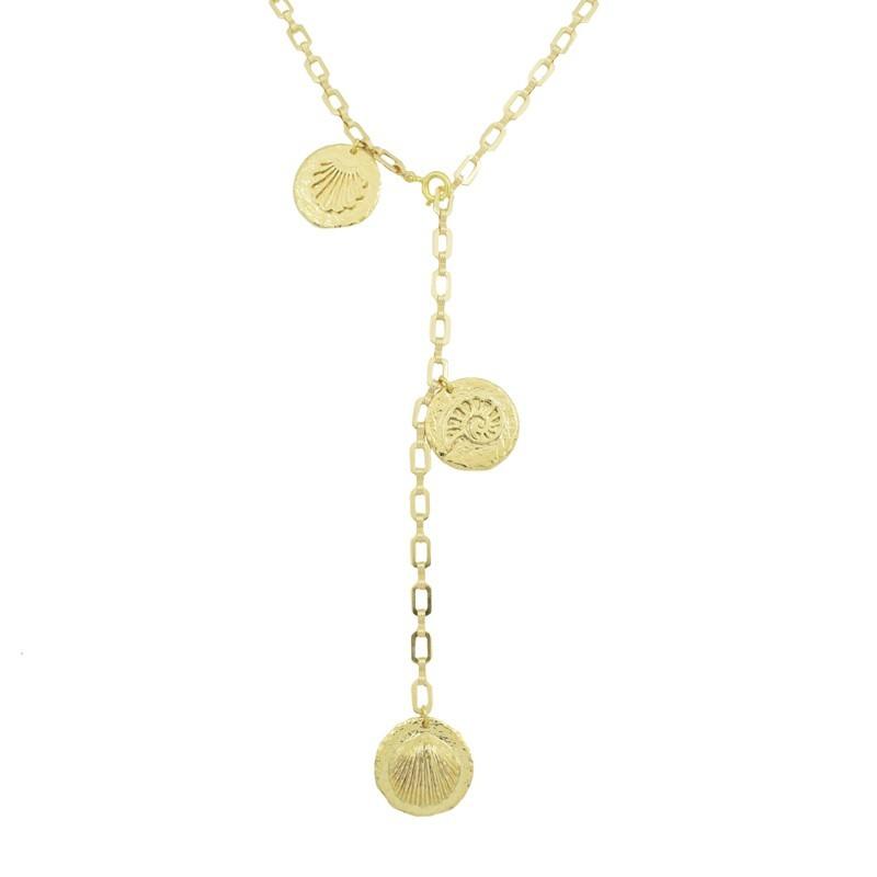 Collier Or PALOMA - Collier chaîne & Trois médailles coquille